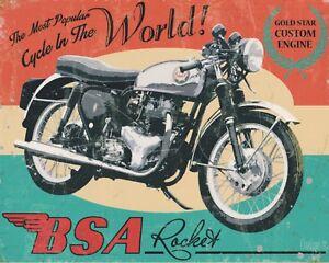 BSA ROCKET MOTORCYCLE GARAGE WORKSHOP MAN CAVE METAL PLAQUE SIGN N485