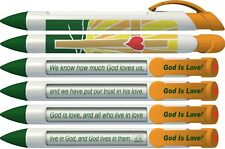 God is Love Scripture Pens with Rotating Messages, 6 Pen Set (36052)