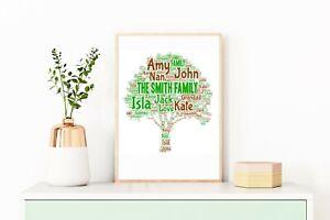 Family Tree Birthday Gift Personalised A4 Word Art Home Print Decor Keepsake
