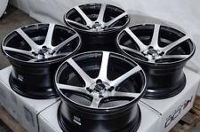 15x8 4x100 Wheels Rims Black Polish Fit Ford Escort Honda Civic Nissan Sentra