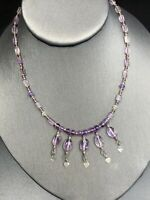 Faceted Purple Amethyst Stone Crystal Drop Pendant Heart Choker necklace 14""