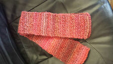 Handknitted womens scarf Orange/pink/red/brown 10cm by 1.3m