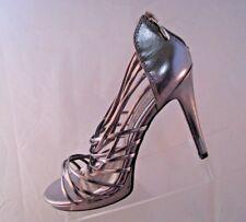 Chinese Laundry Silver Metallic Zip Back High Heels Women's Sz 9.5 M