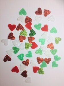50 Mixed Christmas Red Green & White Die Cut Glitter Felt Hearts