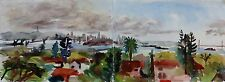 San Francisco Bay view from Oakland watercolor 9 x 24