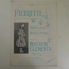 PIERRETTE antique songsheet ; miss venie clements , nice cover art
