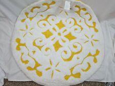 Saffron Fabs Bath Rug 100% Soft Cotton 36 Inch Round, Damask Pattern