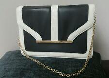 Atmosphere Monochrome Retro Black & White Clutch Bag / Gold Chain
