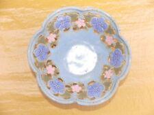 Veverka Signed Ceramic Pottery Bowl Cutout Floral Flower Design Blue Pink