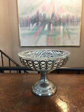 Vintage FARBERWARE  Brooklyn Footed Fruit Bowl Basket With Pressed Glass INSERT