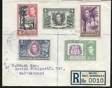 BRIT.HONDURAS 1939 registered letter Switzerland, ex SG 150-54, arrival pmk. b/s