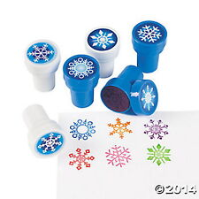 12 Snowflake Stampers Self-inking assorted colors and styles each sealed