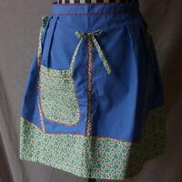 Half Apron Vintage Blue With Bows Flowers Floral Pocket Zig Zag