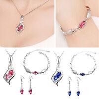 Hot Prom Wedding Bridal Party Crystal Rhinestone Necklace Earring Jewelry Set