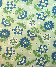 Vintage Partial Feed Sack Blue & White Cute Floral on Mint Green  21