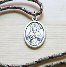 Saint Jude Pendant Camo Paracord Medal Necklace Catholic Mercy