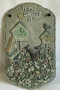 """Vintage Wall Plaque Door Hanger Slate Home Sweet Home Beautiful 13 1/2"""" x 8"""" EUC"""