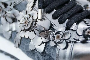 LucyToni Leather Trainers with Silver Floral and Lace UK Designed