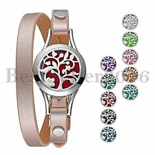 Stainless Steel Essential Oil Diffuser Locket Bracelet Leather Belt with 10 Pads