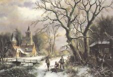 """Postcard - """"Woodgatherers on a Snow Covered Path"""" by Willem Koekkock"""