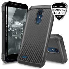 For LG K30/Premier Pro/Xpression Plus Carbon Fiber TPU Case+Black Tempered Glass
