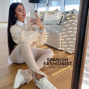 ZARA WOMAN NEW FW20/21 OTTOMAN LEGGINGS PANTS TROUSERS BEIGE REF: 4215/020