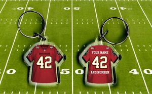 TAMPA BAY BUCCANEERS shirt jersey KEYRING, Fully personalised name & number NFL