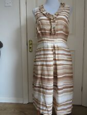 Marks & Spencer Per Una Beige / Cream Linen  Dress Size 12 L VGC