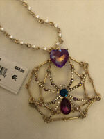 Betsey Johnson Gold Tone Long Spider Pendant Necklace W/Pave & Faux Pearls NWT