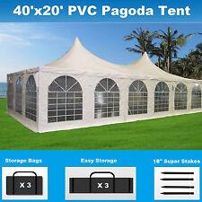 Pagoda PVC Tent 40'x20' - Heavy Duty Party Wedding Carport White