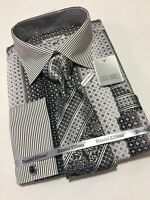 Men's DANIEL ELLISSA French Cuff Dress Shirt Black Necktie Hanky Cufflinks Set