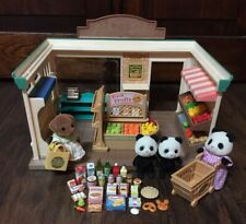 Rare EPOCH Calico Critters Supermarket w/Groceries, (4) Sylvanian Critters