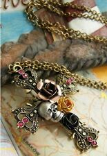 Grande Cruz colgante collar, cráneo, Roses & Diamanté, Vintage, goth, punk, Hippy Chic