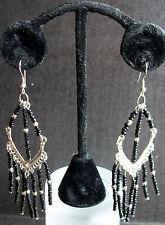Black Silver Onyx Ebony Dangle Chandelier Earrings Unique Handmade Long Drop L