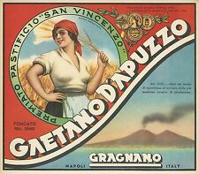 VINTAGE ORIGINAL 1940 PASTA LADY BOX LABEL ART MT VESUVIUS GRAGNANO NAPLES ITALY