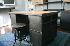 Kitchen Island/Work Station. Vintage Industrial/Mid Century Modern Design.