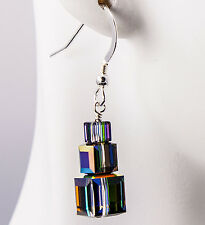 Triple Cube Stack Earrings made with Vitrail Swarovski Crystals Sterling Silver