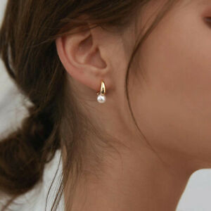 925 Sterling Silver Gold Plated Hypoallergenic Fashion Earrings With Pearls