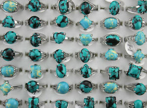 60pcs New Lady Jewelry Mixed Lots Wholesale Natural Stone Silver P Women Rings
