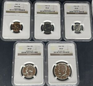 1964 Proof Set NGC Graded PF 67 1C, 5C, 10C, 25C, 50C (3 coins are 90% Silver)