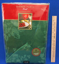 Home Wear Christmas Tablecloth & 8 Napkin Set Noel Green Holly Oblong 60 x 104