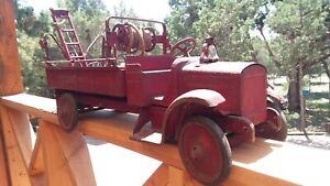 1920's Pressed Steel Steelcraft City Fire Dept Ladder Truck