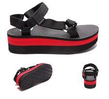 Womens Teva Original Black/Red Wedge Sandals RRP £44.99