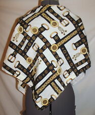 "White triangle wrap scarf gold black paisley belt chain pattern   58"" x 36"" x 26"