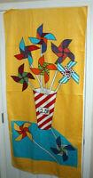 28X62 Vintage Brastex Beach Bath Towel Pinwheels Red Striped Cup Yellow Large