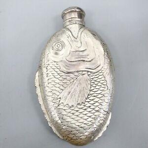 Towle Vintage Fish Hip Pocket Flask Vintage Silver Plate Monogramed
