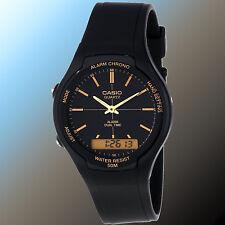 Casio AW-90H-9EV Black Digital Watch Analog Gold 50M WR Stopwatch New