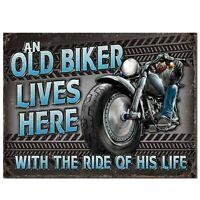 Old Biker Bike Vintage American Retro Tin Metal Sign Custom Classic Motorbike