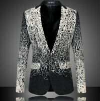 Dress Formal Mens Fashion V-Neck One Button Blazers Suit Slim Fit Coats Jackets