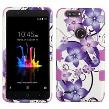 For ZTE Blade Z Max/Sequoia Purple Hibiscus Flower Hard TPU Hybrid Case Cover